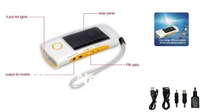 Innovative Hand Dynamo&Solar Flashlight with FM/AM Radio& Emergency Charger for Cellphone 4 LED Free shipping+Drop Shipping