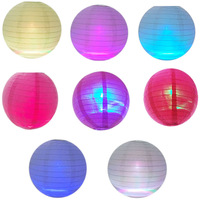 "Free shipping,50PCS/lot  Paper Lanterns 8"" Wedding Party with Led Light Decor,paper lanterns light,7 color light rainbow color"