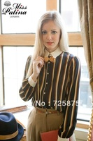 2013 New British style Lapel long-sleeved College wind vertical striped shirt bow Blouses Women's T-shirt Free shipping