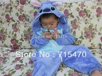 Blue Stitch Unisex Pajamas  Children Anime Cosplay Costume Sleepsuit Cute