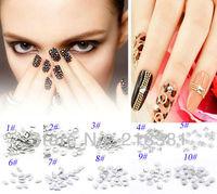 10000pcs Silver Color  Mixed Aluminium Tone Metal Nail Art Decoration Metallic Nail Studs Drop 10 Styles N010