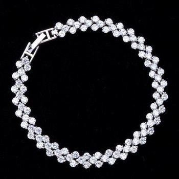 (Niceter N8061 ) Design from Rome AAA+ Swiss Cubic Zirconia Stones Paved Bracelet ,Free Shipping  ,Wholesale and Dropshipping .