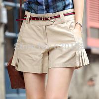 Shorts women 2014 women's brief pleated fabric shorts casual culottes shorts Fashion Boardshorts Novelty style Free belt