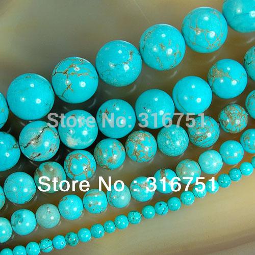 Gratis verzending 15.5&; blauw turquoise ronde kralen 6 8 10 12 pick