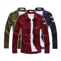 Free Shipping 2014 New Men's Shirt Cool Male Corduroy Embroidered Logo All-match Shirt Military Shirt 6 Colors M L XL XXL