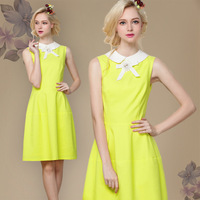 The new palace retro sweet style fluorescent color chiffon beaded bow Princess Peter Pan Collar Slim Casual Dress Free shipping
