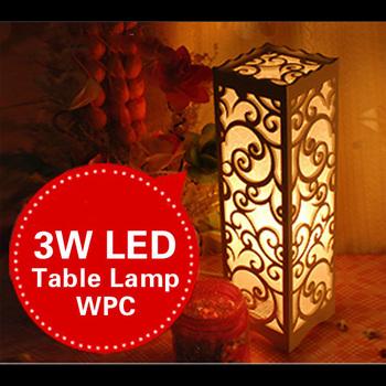 Small LED Table Lamp Wood Plastic Rustic Modern Lampshade Living Room Bedroom Decor Lighting E14 110-240V