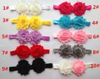 Baby Shabby Chiffon Double Flower Headbands Headwear Kids Photography Prop Headbands Baby Hair Accessories Elastic Headbands