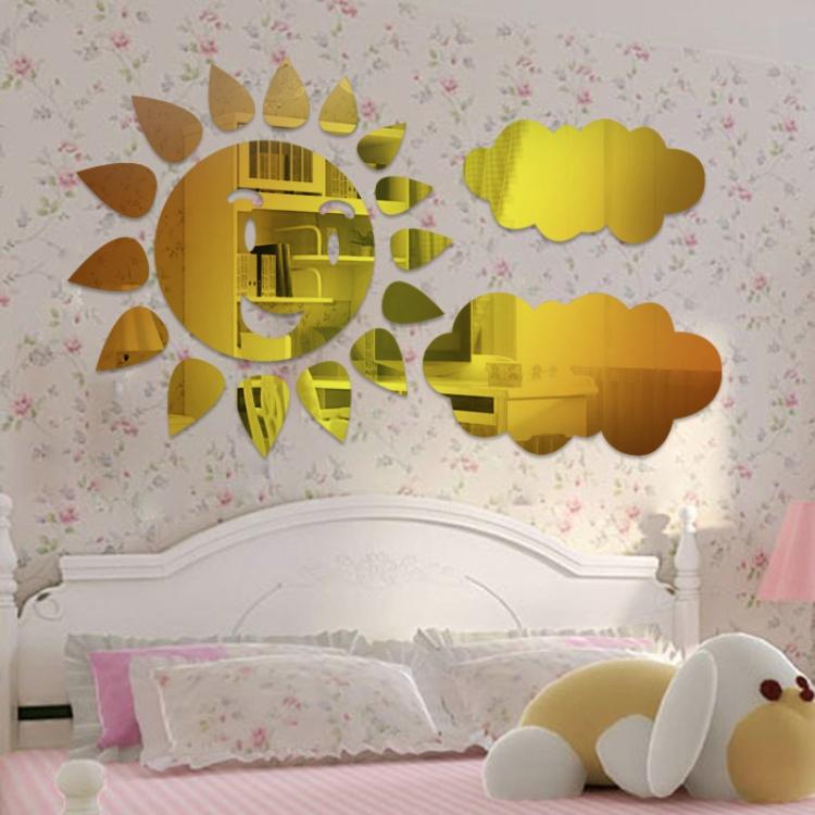 2013 new fashion 3D mirror sun and clound wall art sticker decor Crystal best home decoration mirror child fashion wall stickers(China (Mainland))
