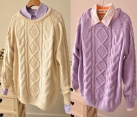 JJ908814 retro twist loose knitted pullover sweater thick winter sweater new 2013