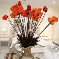 For 5 pcs Artificial flowers floral poppy flower  home wedding wedding decoration flower silk flower flores artificiales