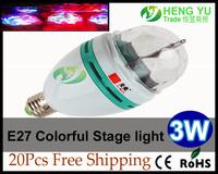 20pcs DHL FEDEX Free RGB Full Color E27 3W LED Bulb Rotating Cloorful lamp light bulb