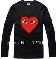 Free shipping Chinese Size S-XXXL long sleeve Heart-shaped print T-shirt  harajuku t shirt fashion tee shirt 100% cotton