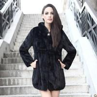2013  marten overcoat fur medium-long mink fur coat  hooded mink fur coat