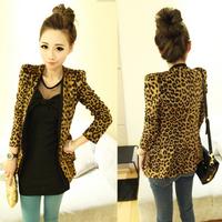 2013 hot Spring Autumn Women Leopard Jacket Slim Fit One Button Blazer With Shoulder Pad Suede Outwear S M L size 2887