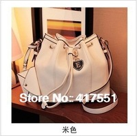 Luggage & Bags,Handbags,women handbag genuine leather,Messenger Bags,Great rice white belt buckles bucket bag,pu leather