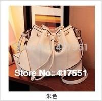 new 2014,Women Bag,women handbag PU leather,women Messenger Bags,Great rice white belt buckles bucket bag,5 colors,free shipping