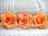 "12 yellow+orange rose Artificial Silk Flower Heads Craft Wedding 2""Sf91"