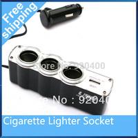 Free shipping 3 ways Car Cigarette Lighter Socket Splitter Charger with USB port Cigarette Charger Socket Adapter