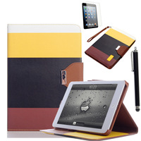 For Apple (3 items/set for 1case +1Stylus +1 Screen Protectors)For iPad Mini Hybrid PU Wallet Flip Pouch Stand Case Cover