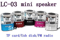 Crystal Portable mini speaker LC-03 support Micro SD/TF card and U-disk  FM radio Portable audio player mp3 player Freeshipping