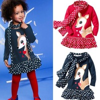 New fashion 2013 autumn long sleeve cartoon deer dress and scarf 2 pcs kids set children suits for girls 5sets/lot wholesale