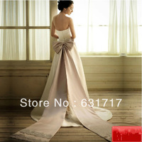 2014 New Small and Short Trailing Mermaid Open Back Wedding or Party Dress With Big Bow Champagne