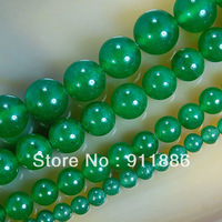 Wholesale Genuine Stone 4mm 6mm 8mm 10mm 12mm Green Malay Jade Loose Spacers Bead Findings For Jewelry Making,10Strand/lot,15.5""