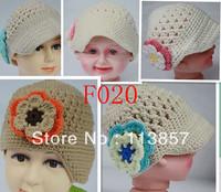 free shipping handmade 100% cotton baby girl crochet flower hats