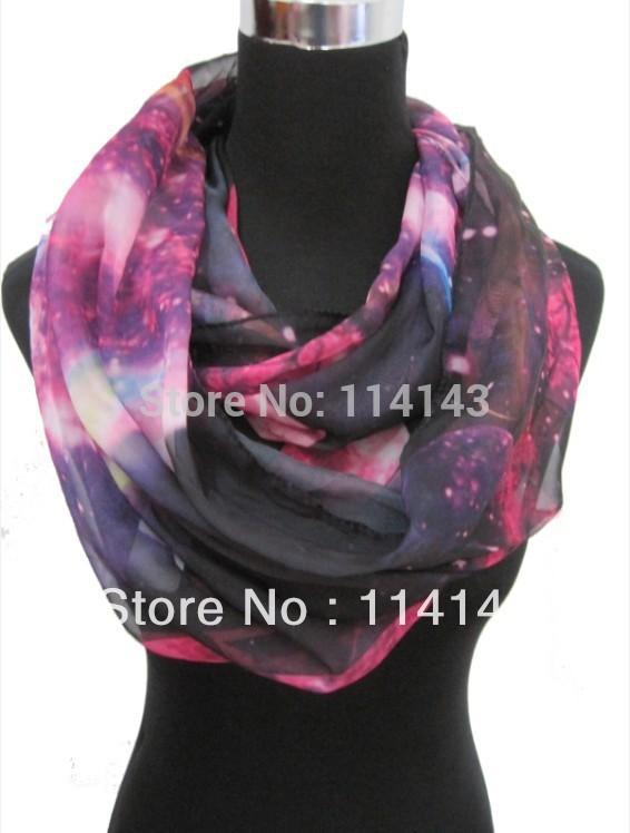 Fashion Ladies Galaxy Planet Space Star Sky Print Circle