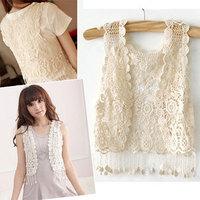 2013 New Fashion Girl Lady Crochet Tassel Shrug Top gilet Waistcoat Cardigan Free Shipping
