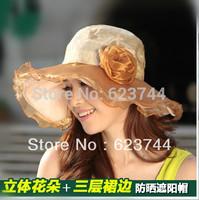100% Canvas! 2014 Women Sun Hat Casual Sunhats Summer Straw Beach Hats For Women Rainbow Sunbonnet Cap 1 Piece Free Shipping