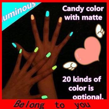Free shipping 20pcs/lot 20 colors Popular Luminous Nail Polish nail art / Fluorescent nail Enamel