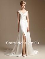 Top Fashion Customize Covered Lace Back Side Slit  White Satin Elegant Sexy Wedding Dresses vestido longo