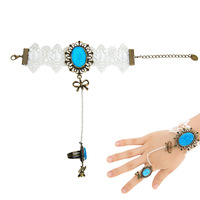 Hot Women's Vintage Style White Lace Plastic Stone Bracelets with Blue Ring Set Gem wide bracelet Hand catenary PJ081