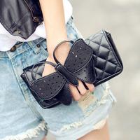 2014 Women Diamond Texture Shoulder Handbag Female Bowknot Finger Day Clutch Purse Lady Evening Bag Chain Bag #0101