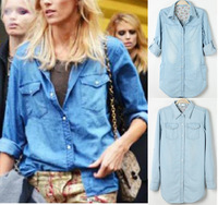 2013 Turn-down Collar Pearl Button Roll-up Long Sleeve Denim Shirt Plus SIze Mid-long Style Outerwear Jean Shirt Free Shipping