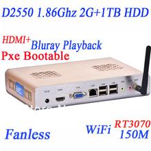 2013 new arrival diskless mini pcs with D2550 hdmi dual core four thread 1.86Ghz 2G RAM 1TB HDD alluminum wifi