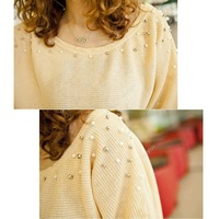 2014 Women Knitted Pullover Batwing Shirt Pearl Beading Long-Sleeve O-neck Sweater