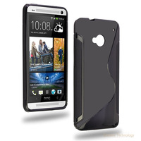 Anti-skid design,S-Line Back Case Flexible TPU Cover  for HTC One (M7)