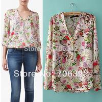Spring 2014 Woman Blouses Shirts Fashion Casual Summer V Neck Georgette Chiffon Floral Print Long Sleeve Shirt Women