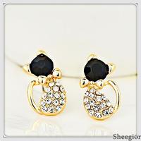 Fashion Cheap Lovely Earring/Fashion jewelry/Rhinestone Cat stud Earrings women Gold Earrings Wholesale Free shipping !