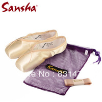 Sansha women ballet professional pointe shoes 909HSL pink satin toe shoes dance shoes free shipping