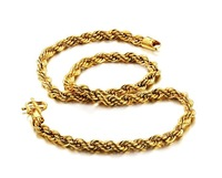 Brand New Fashion Jewelry 18K Gold Plated Unisex Necklace Rope Roll Link Chain Cool Design Attractive Necklaces Boyfriend's Gift