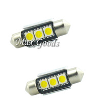 Hot Saling 2 X 36mm CANBUS Error Free 3 LED 5050 SMD 6418 C5W License Plate Dome Light Bulb White