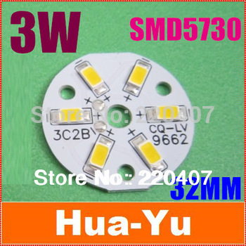 Free shipping 20pcs/lot 3W 32mm DC9.6-10.2V 300Ma 300-360LM Warm white LED PCB with 5730 installed LED heat sink bead radiator