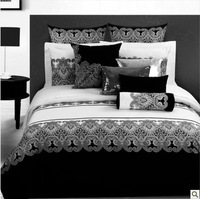 Free shipping! Black and White Personalized Family of four bedding set full size duvet covers / bed sheet / Fitted / Pillowcase