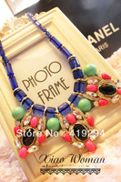 Free Shipping 2014 New Design Tribal Beads Chain Big Colorful Acrylic Flower Bib Statement Chunky Necklace Brand Jewelry Woman