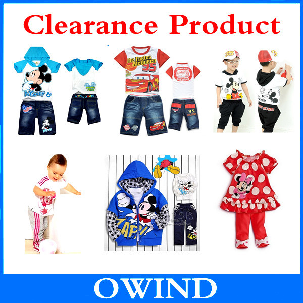 Clearance!!!!! Big sale Retail Children Minnie mickey clothing sets baby boy girl Cartoon jeans clothing suits(China (Mainland))