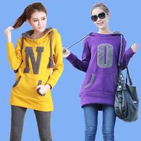 Fashion winter female loose thickening outerwear large plus size XXXXL XXXL 4XL clothing fleece sweatshirt Hoodies women's EZ149